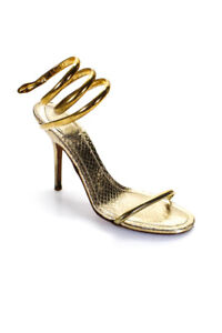 Rene Caovilla Womens Gold Tone Metal Coil Snake Ankle Strap Sandals Size 39 9