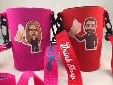 Koozie Necklace Drink Strap Beer Can Bottle Cooler Mr & Mrs Brewski New 2 pack