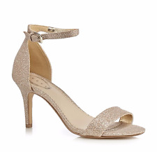 """Debut Daisy Womens UK 7 EU 40 Gold Sparkly 3"""" Stiletto Heel Ankle Strap Sandals"""