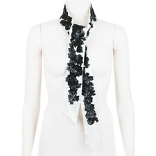 Shourouk Ivory Silk Black Flower Sequin Embellished Dress Scarf