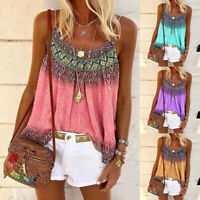 Womens Boho Swing Vest Sleeveless Cami Top Ladies Strappy Flared Blouse Shirt UK
