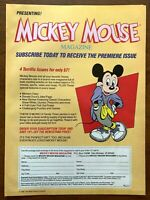 1987 Disney Mickey Mouse Magazine Subscription Vintage Print Ad/Poster Pop Decor