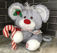 Vintage 1987 Fisher Price Gray CHRISTMAS MOUSE Puffalumps Plush Toy Doll #8016