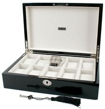 AXIS Piano Black Luxury 10 Watch Storage Case Display Box WITH KEY