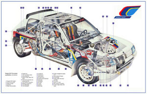 A3 Peugeot 205 T16 Group B History WRC CutAway Rally Wall Poster Picture Print