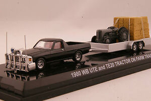 Road Ragers 1980 HOLDEN WB UTE & Trailer and TE20 Massey Fergusson Tractor 1:64