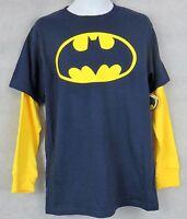 Batman Boys Mock Layer Long Sleeve T-Shirt New Officially Licensed 14 16 Navy
