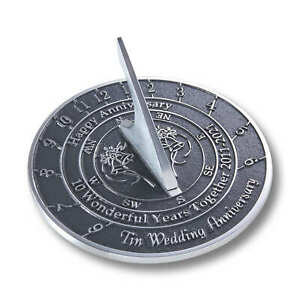 10th Tin 2021 Wedding Anniversary Sundial Gift By The Metal Foundry
