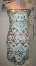 BOOHOO SEQUIN AZTEC BOOBTUBE DRESS CREAM SIZE 10 BNWT