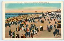 *Boardwalk Coney Island NY New York Rolling Chairs Vintage Linen Postcard A70