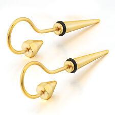 MENDINO Men's Stainless Steel Stud Earrings Question Mark Cone Taper Gold Tone