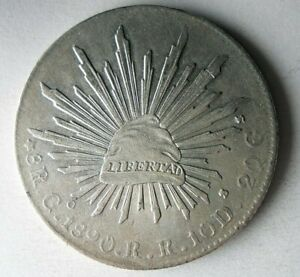 1890 Go MEXICO 8 REALES - Strong Value Uncommon Silver Coin - lot #F20