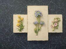 3 X CERAMIC Floral Wall Plaques