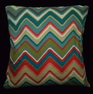 LL403a Red Khaki Pink Teal Blue Zig Zag Cotton Canvas Cushion Cover/Pillow Case