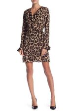 Romeo & Juliet Couture Leopard Print Ruffle Wrap Dress 11033 Size Medium