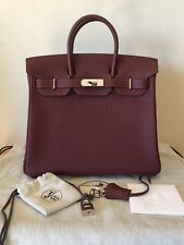 Authentic Hermes HAC 28 Fjord Rouge H Leather Palladium Hardware