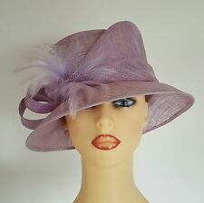 Ladies Wedding Hat Races Mother Bride Ascot Mauve Angular Crown