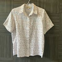 Ricki Renee Womens White/Brown Floral Short Sleeve Button Up Blouse Size 12
