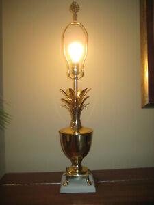 """VTG Hollywood Regency Style Brass Pineapple Table Lamp 33"""""""