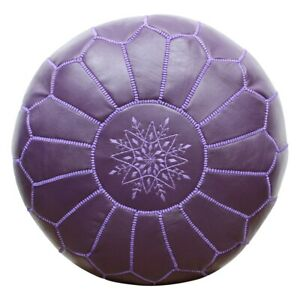 Moroccan leather poufs  Purple  - unstuffed