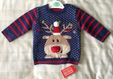 Baby Boys Super Cute Knitted Navy Blue Christmas Jumper ~ Reindeer/Rudolf ~ 0-3m