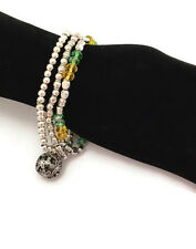 GorgeousSet of 3 Beaded Bracelets with Round Bell Charm Elasticated Stretchy
