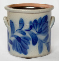 Vintage 1992 Signed SALMON FALLS NH Stoneware Pottery Crock Planter Blue Leaf