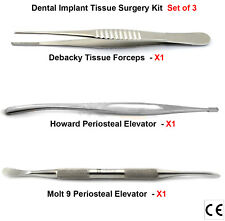 Periosteal Elevators Molt 9 DeBakey Tissue Pliers Sutures Dental Implant Surgery
