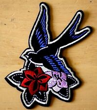 Swallow Rose Patch Embroidered Iron Sew On Rockabilly Badge Motif Biker Bird