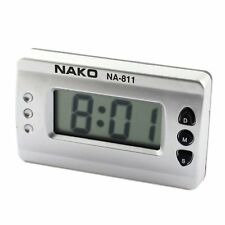 Car Home Silver Tone Digital LCD Desk Wall Clock DT
