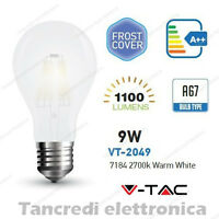 Lampadina led V-TAC 9W E27 bianco caldo 2700K VT-2049 A67 bianca filamento bulb