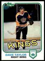 1981-82 TOPPS HOCKEY SET BREAK DAVE TAYLOR LOS ANGELES KINGS #40