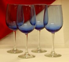 Blue Wine Goblets Glasses w/ Clear Stem NWT
