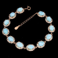 Unheated Oval Larimar 8x6mm Cz 14K Rose Gold Plate 925 Sterling Silver Bracelet