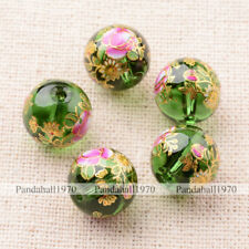 5 Pcs Flower Painted Green Glass Round Beads 12mm Crafts For DIY Jewelry Making