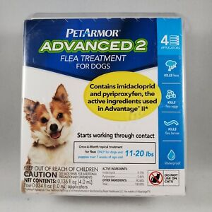 PetArmor Advanced 2 Flea Treatment for Dogs 11-20 lbs 4 Applications 4 Months
