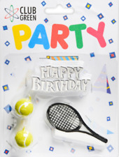 TENNIS  Party Candles CAKE DECORATION SET Birthday Racket  and balls candles