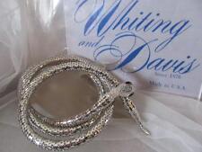 Vtg. Whiting & Davis Silver Mesh Blue Stones Snake Belt/Necklace Signed (NFOS)