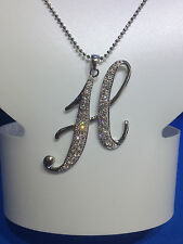 """"""" H """"  INITIAL LETTER  SILVER PLATED CHARM PENDANT NECKLACE  FASHION JEWELRY NEW"""