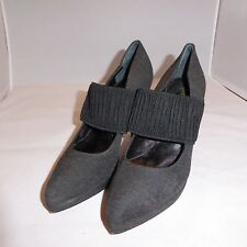 """Bettye Muller 4"""" Kitten High Heel Gray Fabric Shoes Made in Italy Size 39 (US 9)"""