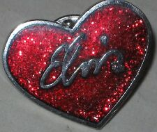 "Elvis Presley ""Elvis"" Sparkle Heart Lapel Pin 1"" - Fully Licensed EPE"