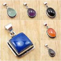 925 Silver Plated Real LAPIS LAZULI & Other Gemstones FASHION PENDANT Jewelry