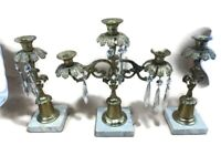 Antique French Crystal Marble Garden Leaves 3 Pcs Girandole Set Brass Candle