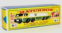 Matchbox Lesney  M1 THOMPSON B.P. AUTOTANKER   empty Repro E style Box