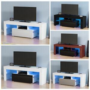 130cm Modern TV Cabinet Stand High Gloss Front Home TV LED Table Desk Shelves UK