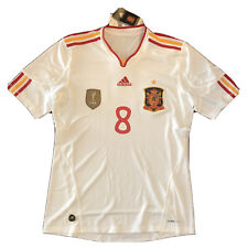 2010/11 Spain Away Jersey #8 A.INIESTA Medium Adidas Soccer Football White NEW