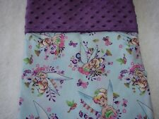 Tinkerbell Blue Cotton Front Purple Minkee Bassinet/Crib Blanket Handmade