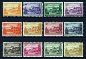 NORFOLK ISLAND 1947-59 The Complete Set on Toned Paper SG 1 to SG 12 MINT