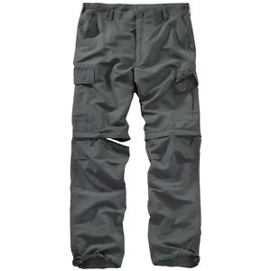 SURPLUS RAW VINTAGE OUTDOOR TROUSERS ZIP OFF TREKKING QUICKDRY HIKING ANTHRACITE