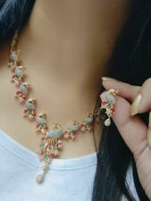 Indian Pakistani Bollywood American Diamond Necklace Multicolo Gold Plated Party
